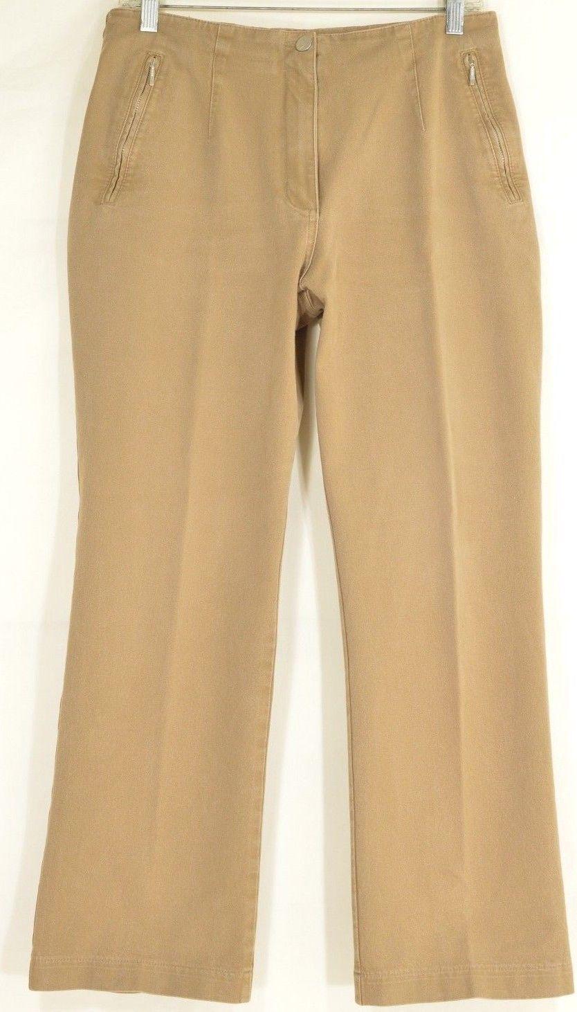 Vanilia pants US 10 E 42 Jacky Becky light brown tan zipper pockets chic career