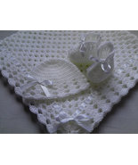 Crochet PATTERN Baby Blanket, Hat and Booties Set, PDF file #4, gift bab... - $1.79