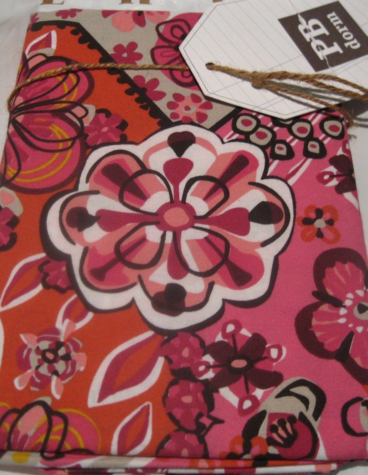 2 Pottery Barn Lucia Mosaic Tile Standard Pillow Shams 26x20 Pink Magenta Brown