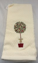 Christmas Kitchen Towels Set of 2. Croscill Home. Embroidered Topiary. - $12.25