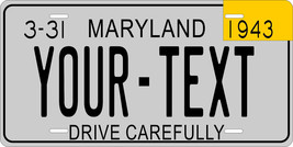 Maryland 1943 License Plate Personalized Custom Car Bike Motorcycle Moped Tag - $10.99+