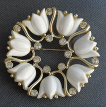 Signed KRAMER Pin Brooch White Thermoset or Lucite Tulip & Rhinestone Wr... - $16.99