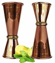 Copper Double Jigger Cocktail Shot Glasses.Set of 2 - $13.63