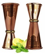 Copper Double Jigger Cocktail Shot Glasses.Set of 2 - $18.04 CAD