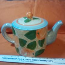Villeroy Boch Peach Orange Fruit Light Blue Majolica Teapot Tea Pot Port... - $67.50