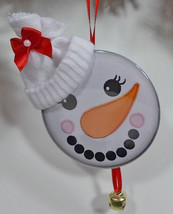 Christmas Ornament White Snowman Face Wearing A Stocking Hat Bell Ribbon - $14.84