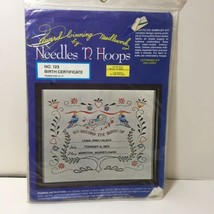 """Birth Certificate Crewel Embroidery Kit Needles & Hoops 14"""" x 17"""" - $9.74"""