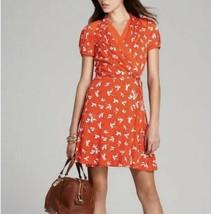 Juicy Couture Floral Motif Print Wrap Dress Size S Orange  - $58.41