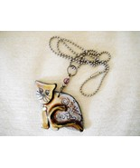 NWOT FUSED PLASTIC CAT PENDANT ON SILVER TONE CHAIN, SIGNED BY ARTIST - $12.99
