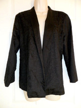 EILEEN FISHER BLACK EMBROIDERED LINED OPEN CARDIGAN/ JACKET 100% SILK - $27.10