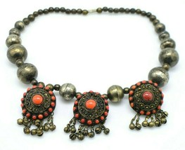 Tibetan Silver Coral Studded Gemstone Medallions Choker Necklace Vintage Tribal - $593.99