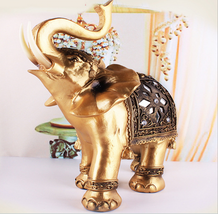 Elegant Elephant Statue Feng Shui Lucky Wealth Figurine Gift Home And De... - $16.25