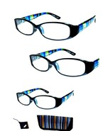 3 Pair +1.00 Foster Grant Blue Rainbow Reading Glasses w Soft Case MSRP:$48 - $10.02
