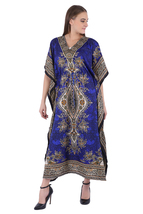 Hippy Boho Maxi Long Kaftan Dress Women Caftan Top Tunic Dress Gown Blue... - $7.99