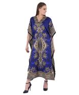 Hippy Boho Maxi Long Kaftan Dress Women Caftan Top Tunic Dress Gown Blue... - $7.19