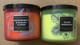 (2) Bath & Body Works Island Margarita & Passionfruit & Banana 3 Wick Ca... - $44.95