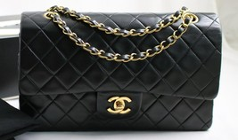 "CHANEL MEDIUM 10"" Vintage Black LAMBSKIN Leather AUTHENTICATED Flap Bag ... - $3,028.20"