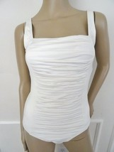 Nwt Calvin Klein Ruched Panel One Piece 1 PC Swimsuit Sz 10 Milk Ivory $128 - $49.45