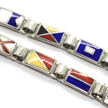 Bracelet Argent 925, Drapeaux Nautique Émaillés,Long 20 cm, Épaisseur 5 MM image 2