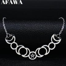 Sun Moon Pentagram Stainless Steel Silver Color Necklace image 2