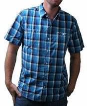 LRG Mens Interstate Short Sleeve Purple or Turquoise Woven Button Up Down Shirt image 1