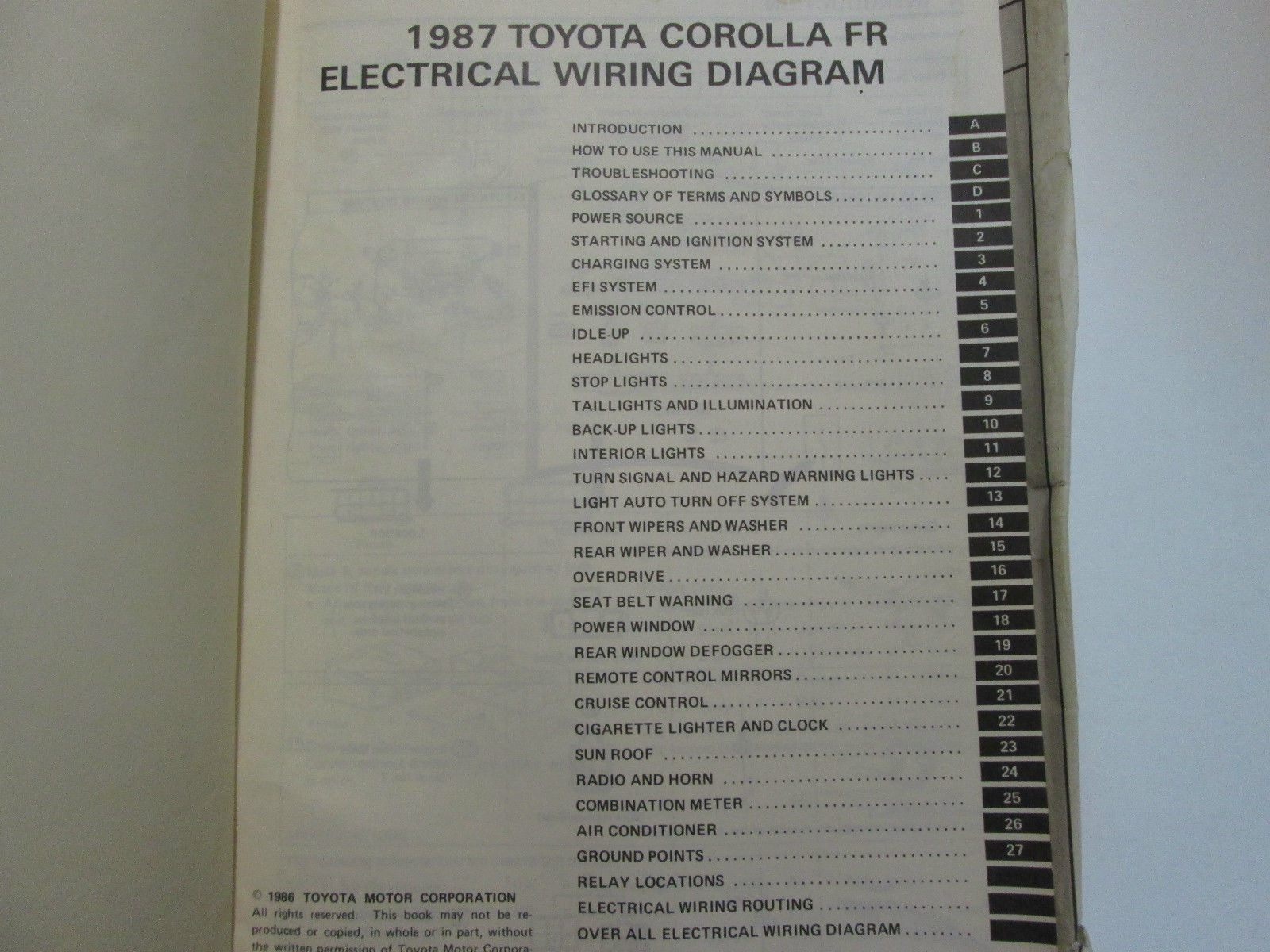 1987 Toyota Corolla Fr Electrical Wiring And 39 Similar Items Diagram Service Repair Manual Used Wear