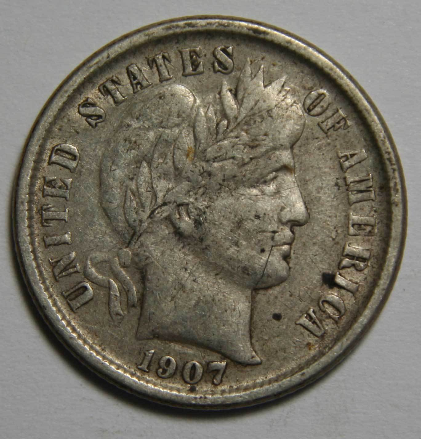 1907O Liberty Barber Head 10¢ Dime Silver Coin Lot# MZ 4565
