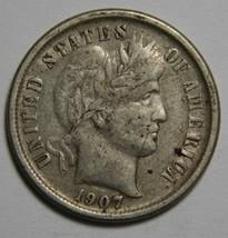 1907O Liberty Barber Head 10¢ Dime Silver Coin Lot# MZ 4565