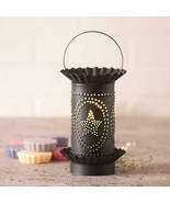 Rustic Primitive Mini Wax Warmer With Punched Star Inside Oval In Kettle... - $41.68