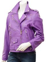 QASTAN Women's New Durable Stylish Purple Biker Cow Leather Jacket QWJ29A - $149.00+