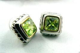Silver tone Faceted Green Peridot CZ Cubic Zirconia stud earrings $0 sh new image 8