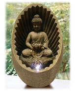 Buddha Meditating in Brown Shell Bubbling Tabletop Zen Fountain with Light - $80.14