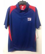 NWT N SFL New York Giants Football fan Men's Polo Shirt Blue Red M-L - $17.49