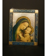 Italian  Medieval Style Wood Plaque Madonna and Child-Gold Leaf New - $7.99