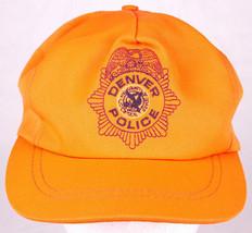 DENVER POLICE Hat-Neon Orange-Embroidered Logo-Law Enforcement-Trucker-Vtg - $26.17