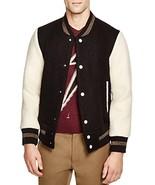 Marc Jacobs Men's Brushed Felt Varsity Bomber Jacket Black Size 48 - $345.51
