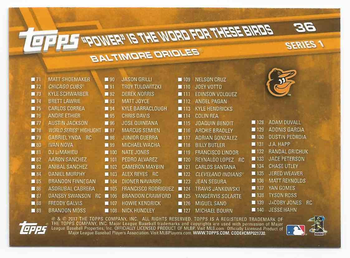 2017 Topps # 36  Manny Machado/Mark Trumbo/Adam Jones - B'more Boppers Baltimore