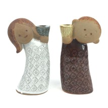 An item in the Pottery & Glass category: Pair Vintage UCTCI Mid Century Stoneware Boy & Girl Figural Candle Holders Rare