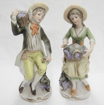 """Homco 2 Figurines Peasant Couple with Baskets of Grapes 8"""" Tall Bisque Chipped - $39.59"""