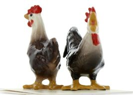 Hagen Renaker Miniature Chicken Leghorn Black Rooster & Brown Hen Set image 4