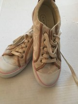 Coach Barrett A1076 Off White Canvas Leather Sneaker Shoes Size 6 - $30.00