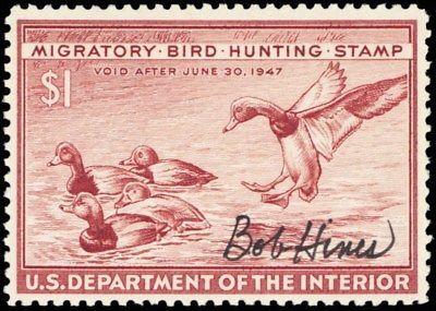 RW13, Rare Artist Signed Bob Hines (deceased) Duck Mint VF NH -- Stuart Katz