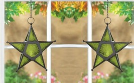 2 Hanging Star Candle Lanterns w/ Green Pressed Glass Use Indoors or Out... - $31.49