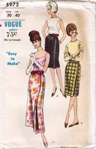 1960's Vogue WRAP SKIRT Pattern 5972-s Misses' Waist Size 30 - Complete - $12.99
