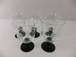 Etched Glass Black Stem Glasses Wine Cocktail Water France Arcoroc Lumin... - $48.37
