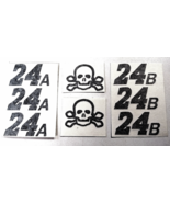 SKULL & CROSS BONES BLACK 24A & 24B DECAL SETS MAKE YOUR OWN TEST CAR 1/... - $3.00