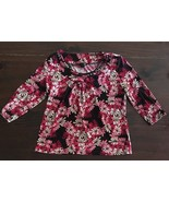 East 5th Multi Color Round Neck 3/4 Sleeve Stretchy Pull On Style Blouse... - $9.50