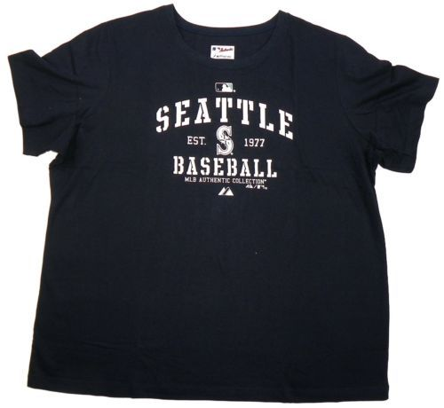 Women's Plus Seattle Mariners Shirt AC Classic Authentic T-Shirt Tee Majestic