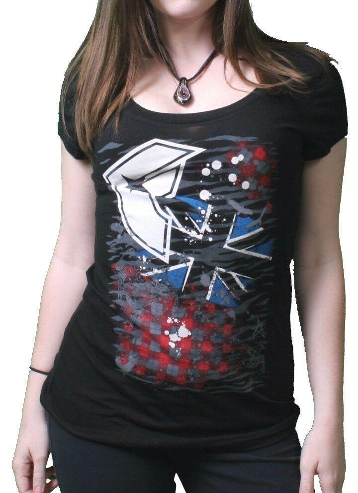Famous Stars & Straps Womens Juniors London Punk Scoop Neck Black T-Shirt