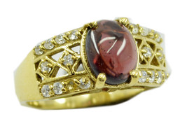 symmetrical Garnet Gold Plated Red Ring jewelry... - $9.99